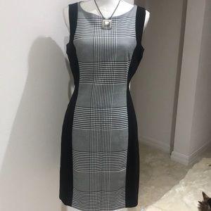 H & M Black & White Stripped Dress Size 10